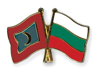 Crossed Flag Pins Maldives-Bulgaria