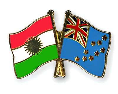 Crossed Flag Pins Kurdistan-Tuvalu