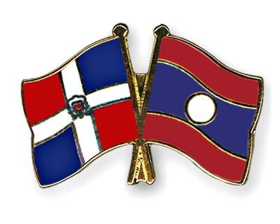 Crossed Flag Pins Dominican-Republic-Laos