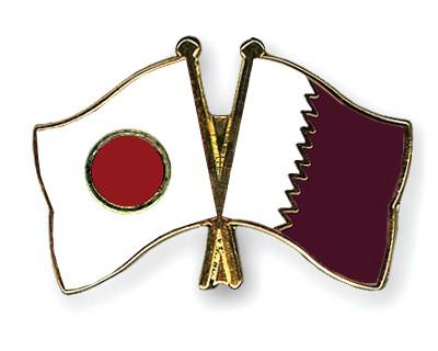 Crossed Flag Pins Japan-Qatar