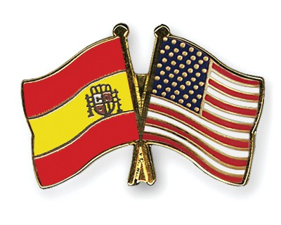 Crossed Flag Pins Spain-USA