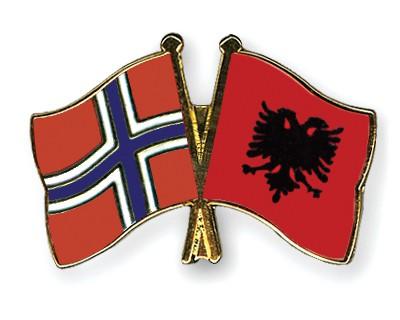Crossed Flag Pins Norway-Albania