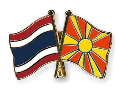 Crossed Flag Pins Thailand-Macedonia