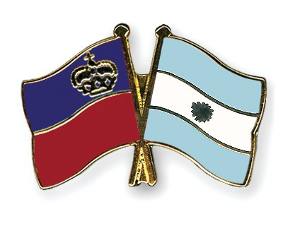 Crossed Flag Pins Liechtenstein-Argentina