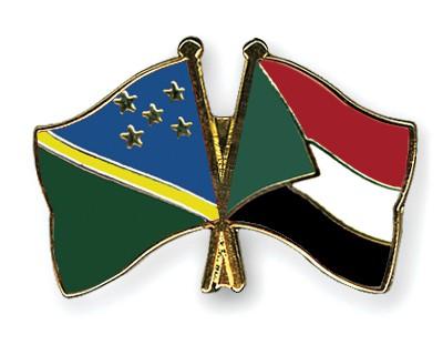 Crossed Flag Pins Solomon-Islands-Sudan