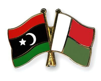 Crossed Flag Pins Libya-Madagascar