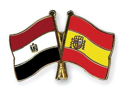 Crossed Flag Pins Egypt-Spain