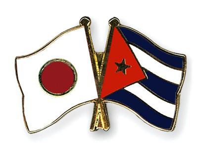 Crossed Flag Pins Japan-Cuba