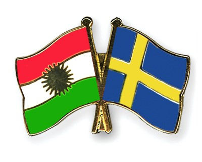 Crossed Flag Pins Kurdistan-Sweden