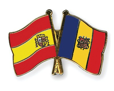 Crossed Flag Pins Spain-Andorra