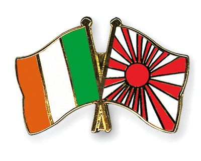 Crossed Flag Pins Ireland-Japan-War-Flag