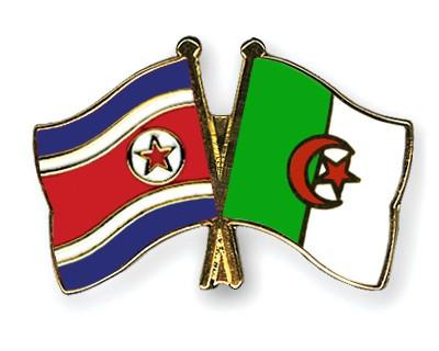 Crossed Flag Pins North-Korea-Algeria