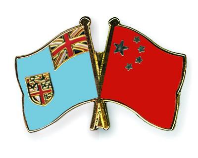 Crossed Flag Pins Fiji-China