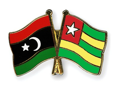 Crossed Flag Pins Libya-Togo