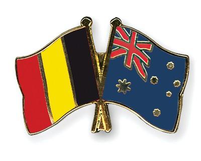 Special Offer Crossed Flag Pins Belgium-Australia