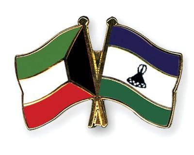 Crossed Flag Pins Kuwait-Lesotho