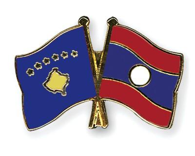 Crossed Flag Pins Kosovo-Laos
