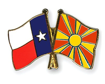 Crossed Flag Pins Texas-Macedonia