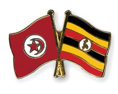 Crossed Flag Pins Tunisia-Uganda