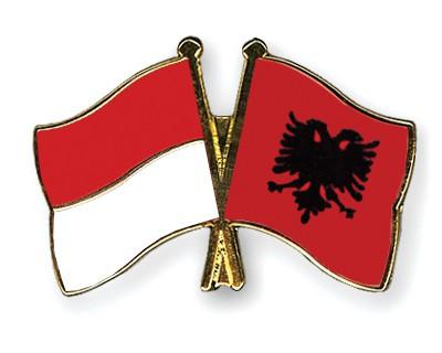 Crossed Flag Pins Indonesia-Albania