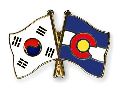 Crossed Flag Pins South-Korea-Colorado