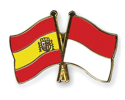 Crossed Flag Pins Spain-Monaco