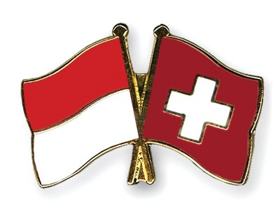Special Offer Crossed Flag Pins Indonesia-Switzerland