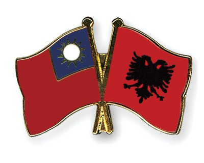 Crossed Flag Pins Taiwan-Albania