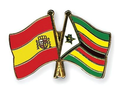 Crossed Flag Pins Spain-Zimbabwe