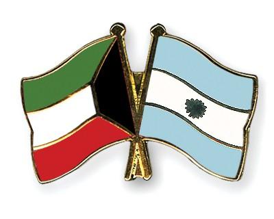Crossed Flag Pins Kuwait-Argentina
