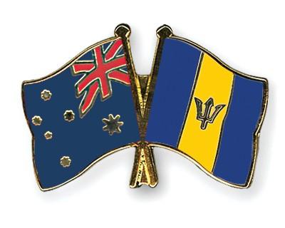 Crossed Flag Pins Australia-Barbados