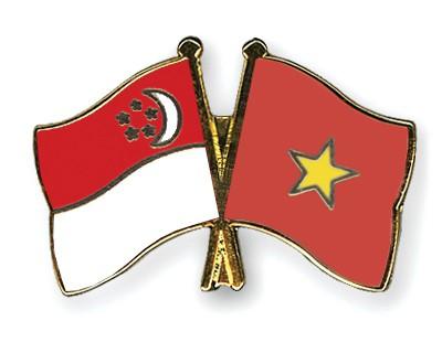 Crossed Flag Pins Singapore-Vietnam