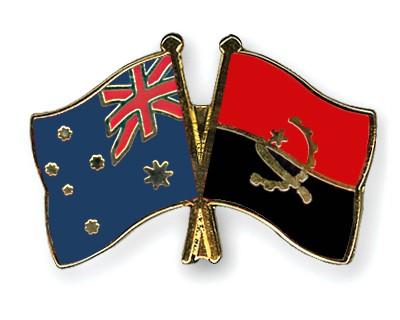 Crossed Flag Pins Australia-Angola