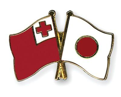 Crossed Flag Pins Tonga-Japan