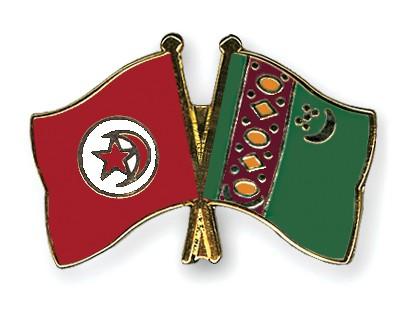 Crossed Flag Pins Tunisia-Turkmenistan