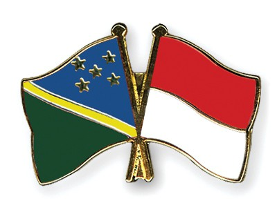Crossed Flag Pins Solomon-Islands-Indonesia