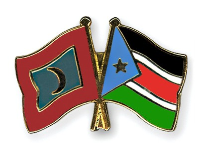 Crossed Flag Pins Maldives-South-Sudan
