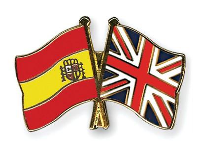 Crossed Flag Pins Spain-Great-Britain