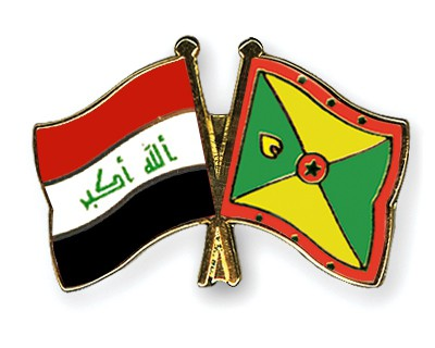Crossed Flag Pins Iraq-Grenada