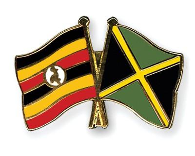 Crossed Flag Pins Uganda-Jamaica