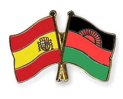 Crossed Flag Pins Spain-Malawi
