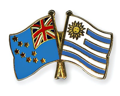 Crossed Flag Pins Tuvalu-Uruguay