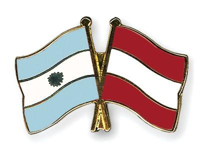 Crossed Flag Pins Argentina-Austria