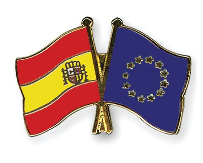Crossed Flag Pins Spain-European-Union