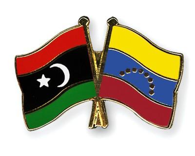 Crossed Flag Pins Libya-Venezuela