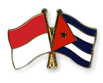 Crossed Flag Pins Indonesia-Cuba