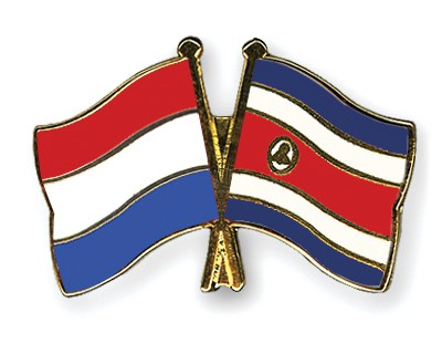 Crossed Flag Pins Netherlands-Costa-Rica