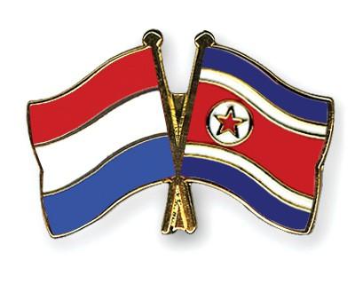 Crossed Flag Pins Netherlands-North-Korea