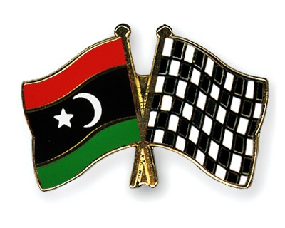 Crossed Flag Pins Libya-Flag-checkered-black-and-white
