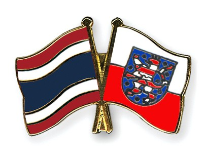 Crossed Flag Pins Thailand-Thuringia